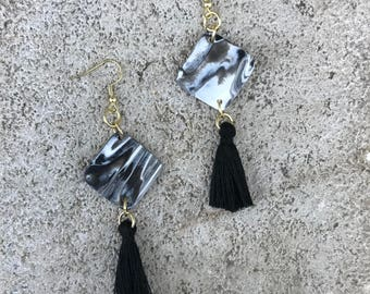 Black marbled square Tassel Earrings