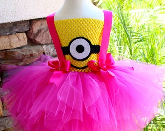 Minion Girl Tutu Dress Pink Minion Tutu Dress Minion Costume Girl Tutu Costume Girls Tutu Dress Halloween Costume Birthday Tutu Dress & Halloween Costume Girl Minion Tutu Dress Girl Minion