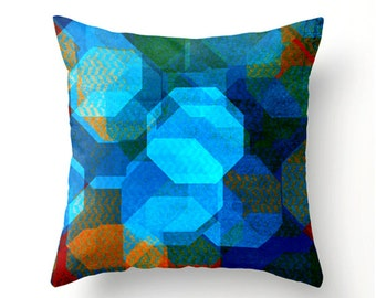 RIVER SUNSET decorative throw pillow - blue red orange red geometric scatter cushion, pillow cover, cushion cover, home decor