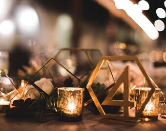 Geometric Table Numbers for Wedding, Wooden Laser Cutout Hexagon Table Numbers Wedding Decor, Boho Centerpiece Table Decor (Item - GTN200)