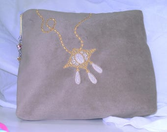 Toilet bag embroidered taupe suede