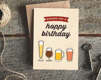 Hoppy birthday card etsy beer card beer lover gift funny birthday card him beer hops card bookmarktalkfo Images