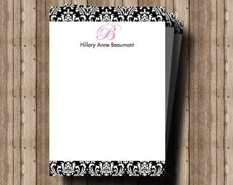 PERSONALIZED NOTECARDS STATIONERY for Women/Mother's Day Gift/Beautiful Damask Flat Notecards/Boxed Set of 12/Monogram Card/Elegant Notecard