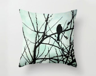 Pillow Cover, Bird silhouette nature photography, animal photography, bird photograph blue