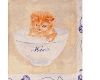 Set of 3 napkins ANI047 kitties in their bowls