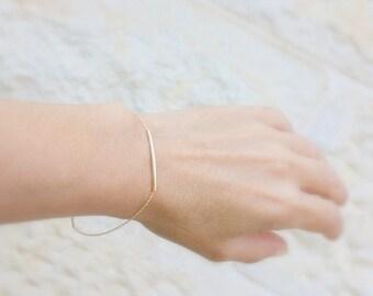 Tiny gold bracelet - minimalist jewelry - dainty gold bracelet, 14k gold filled curved Bar, Minimum Jewelry, everyday