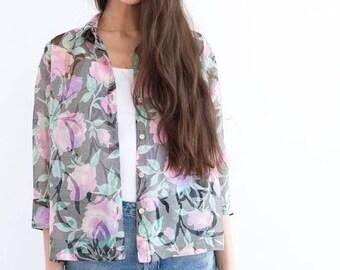 Vintage Floral Roses Print Sheer Shirt / Boho Hippie Indie Retro Top /