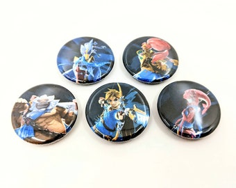 """5 Pack 1.25"""" Legend of Zelda: Breath of Wild Pin-back Buttons or Magnets - featuring Mipha, Daruk, Urbosa, Revali, and Link"""