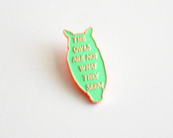 "SALE The Owls are not What they Seem Mint Green and Rose Gold Lapel Pin - 1.25"" soft enamel, Twin Peaks inspired"