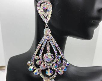 Large Chandelier Earrings| Large AB Earrings| AB Pageant Earrings| Ab Prom Earrings| Chandelier Earrings| Pageant Earrings | 202-13