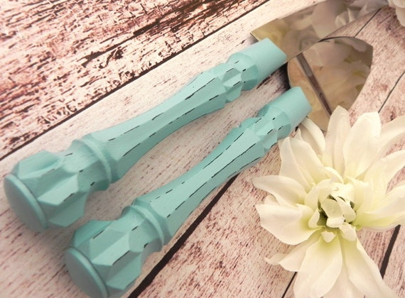 Robin Egg Blue Wedding Cake Server And Knife Set, Shabby Chic, Bridal Shower Gift, Wedding Gift