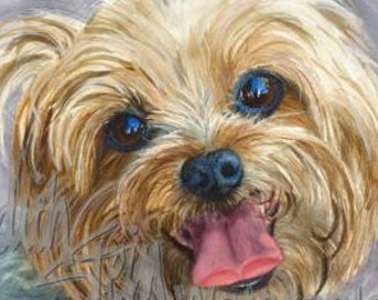 """Yorkshire Terrier, Yorkie, AKC Toy, Pet Portrait Dog Art Watercolor Painting Print Picture, Wall Art, Home Decor, """"Clancy"""" Judith Stein"""