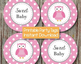 Baby Shower Decorations Owl Cupcake Toppers Instant Download Gum Pink Grey Printable Stickers Favor Labels Party Supplies Sweet Baby 128