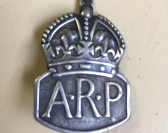 Sterling Silver AiR RAID POLICE badge c ww2