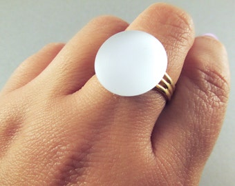 The Lunar Ring - Illuminating White Adjustable Ring with Gold Band