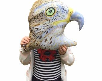 Hawk head, woodland animal, stuffed pillow, plush toy, nursery, collection, illustration, modern