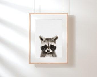 Raccoon Print, Woodlands Nursery Decor, Wall Art, Animals Print, Woodlands Nursery Art, Nursery animals, Raccoon, Nursery decor