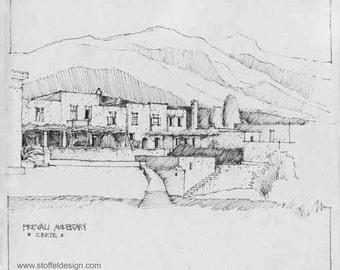 Sketch of Prevali Monastery, Greece (Print)