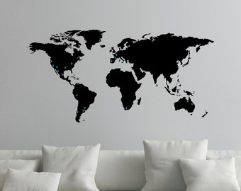 World map decal etsy more colours world map decal for wall gumiabroncs Gallery