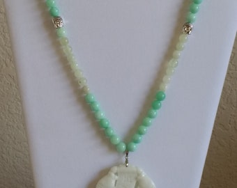 Hand Carved Chinese Jade/ Amazonite Necklace