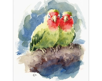 Lovebirds - Original Watercolor Bird Painting 8 1/2 x 11 inches Love Couple Valentine's Day