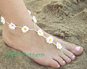 Crochet Barefoot Sandal Pattern, Bridal Barefoot Daisy Flower Sandal, Beach Pool Wedding DIY Easy Anklet Pattern Foot Jewelry PDF Tutorial