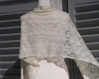 Pearl ivory hand knit lace shawl