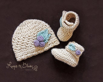 Crochet Hat and Booties Set for Baby Girl, Crochet Hat and Crochet Booties, Baby Hat and Booties, Baby Girl Hat and Booties, Going Home Set