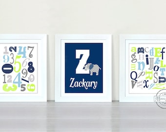 ABC NURSERY Prints - Nursery decor - Personalized Elephant Nursery Room Wall Art Print - 8x10 , Elephant, Alphabet, Numbers