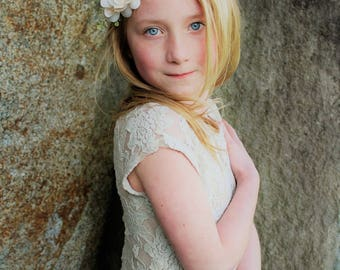 Ivory flower headband-ready to ship -flower girl- cream headband -newborn headband-, ivory tieback,flower girl, flower crown
