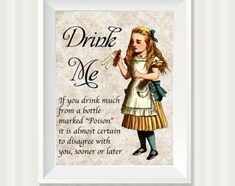Typography Alice in Wonderland Drink Me Wall Art Print 8 x 10 Inch