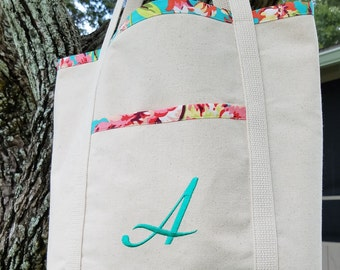 Fabric Lined Monogram Tote, Bride, Bridesmaid, Gift, Floral, Free Shipping