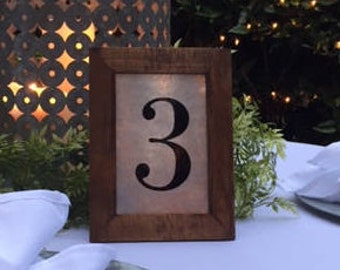 Rustic framed table numbers (set of 6)