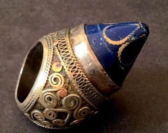 Large Vintage LAPIS LAZULI Tibetan Embossed Silver Ceremonial Ring / Afghanistan Origin / Bold and Chunky Statement Jewelry