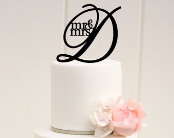Wedding Cake Topper, Mr and Mrs Cake Topper, Custom Personalized Cake Topper for Wedding, Monogram Wedding Cake Topper, Initial Cake Topper