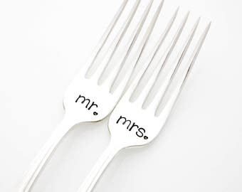 Mr and Mrs wedding forks, stamped silverware for engagement gift. As featured by Martha Stewart Weddings.