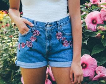 Rose Blossom Handpainted High Waisted Shorts