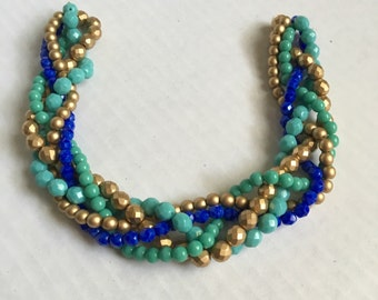 Wedding necklace - blue and teal statement necklace - bridesmaid necklace - blue, gold and teal necklace - beaded statement necklace