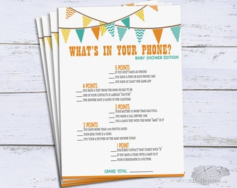 Whats in Your Phone Game, Baby Shower Printable Game, Bunting Flags, Party Games, Instant Download