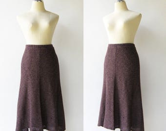 Vintage Purple Knit Skirt / Midi Skirt / Size M