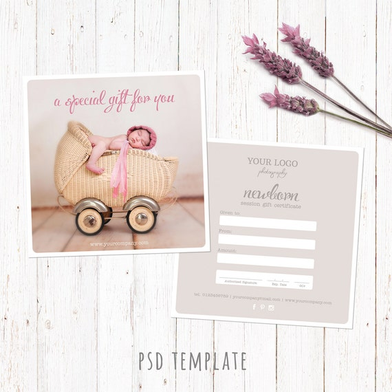Gift certificate template newborn session photography gift gift certificate template newborn session photography gift card marketing voucher card fully editable photoshop psd files gcb002 yadclub Image collections
