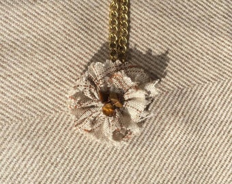 Fabric and chain  necklace - fabric jewelry