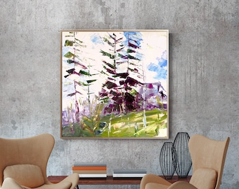 Abstract Forest Oil Painting, Small Square Oil Painting, Original Art, Framed Art, Landscape Oil Painting, Modern Art, Home Decor, Wall Art