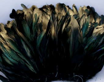 "Black with Gold tipped 5"" - 6"" strung rooster coque tail feathers"