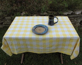 Vintage Midcentury Yellow Plaid Fl