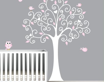 Wall Decal Tree with Owl-Nursery Wall Art Sticker-e29