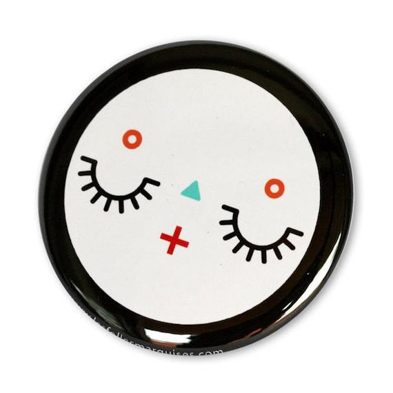 Pocket mirror Sleepy - cute accessory - mini bag mirror kawaii - cute character illustration - 56 mm
