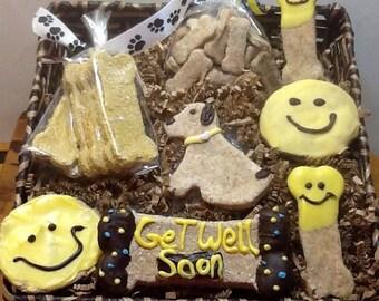 """Dog Treats -  """"Get Well Soon"""" Basket"""