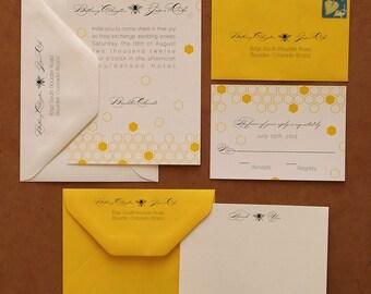 Yellow Honey Bee Wedding Invitation Suite