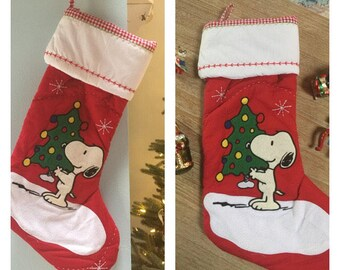 Snoopy Quilted Christmas Stocking- Personalized